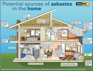 diagram showing where asbestos can be found in a house