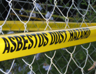 asbestos tape or ribbon to mark off an risk area