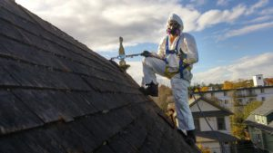Asbestos Removal Worker on Roof